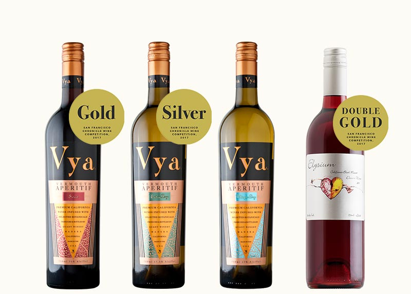 Spring April Vya Wine Club Release 2017 SF Chronicle Wine Competition Medal Winners Elysium Dessert Wine Vya Sweet Vermouth Vya Extra Dry Vermouth Vya Whisper Dry Vermouth