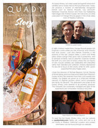 Pamphlet of Quady Winery story handout with bottles of Quady wine, pictures of winemakers and illegible text.