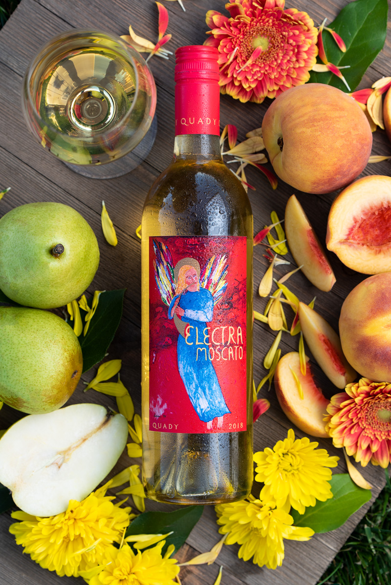 Electra Moscato Wine Label Design Change Photography Pear Peach Flowers Aromas Flavors