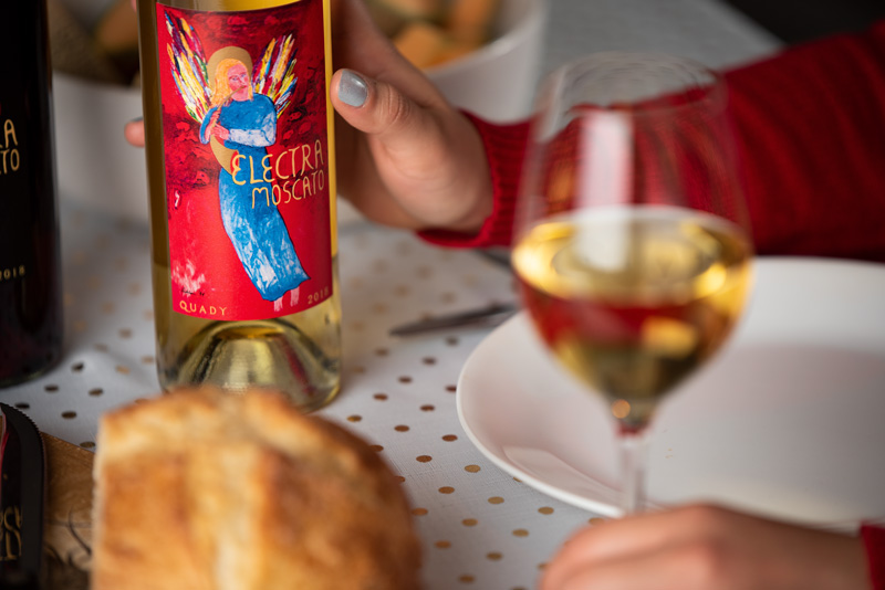 Electra Moscato Wine Label Design Change Dinner Meal Pairing