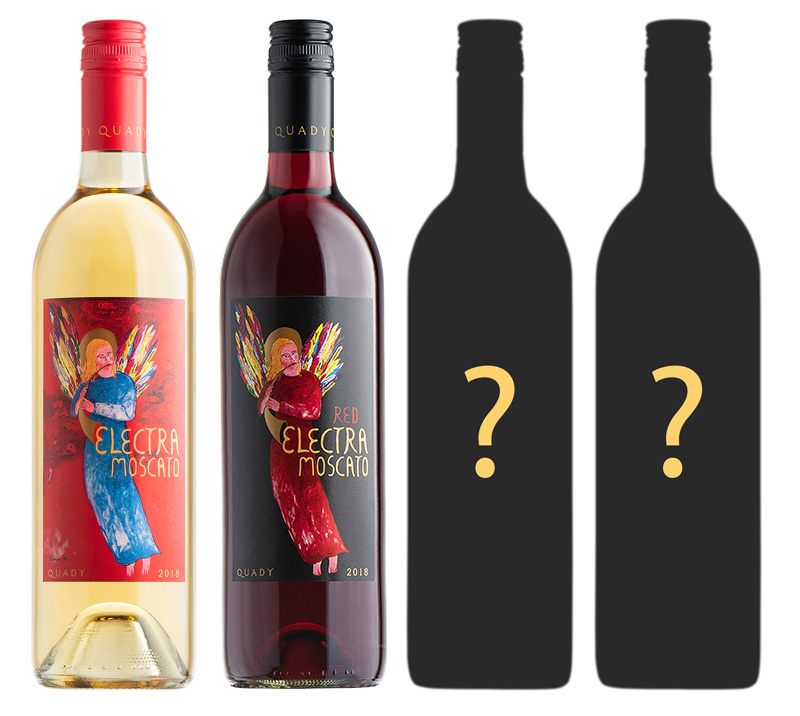 Electra Moscato and Red Electra Moscato wine new packaging reveal showing new bottles and two others still to come.