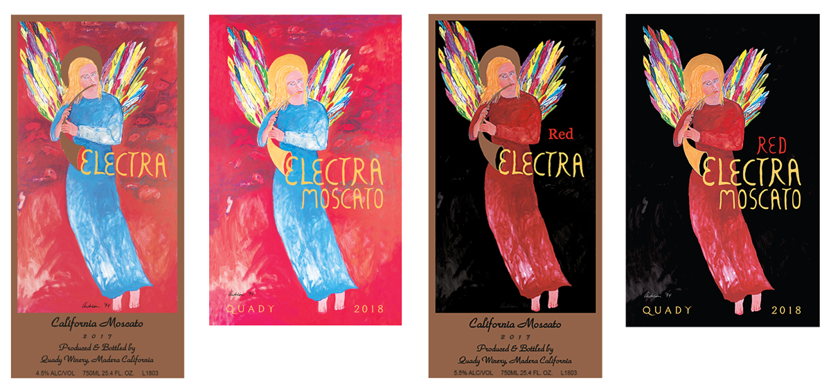 Electra Moscato and Red Electra Moscato wine label comparison, the old design VS the new 2018 vintage.