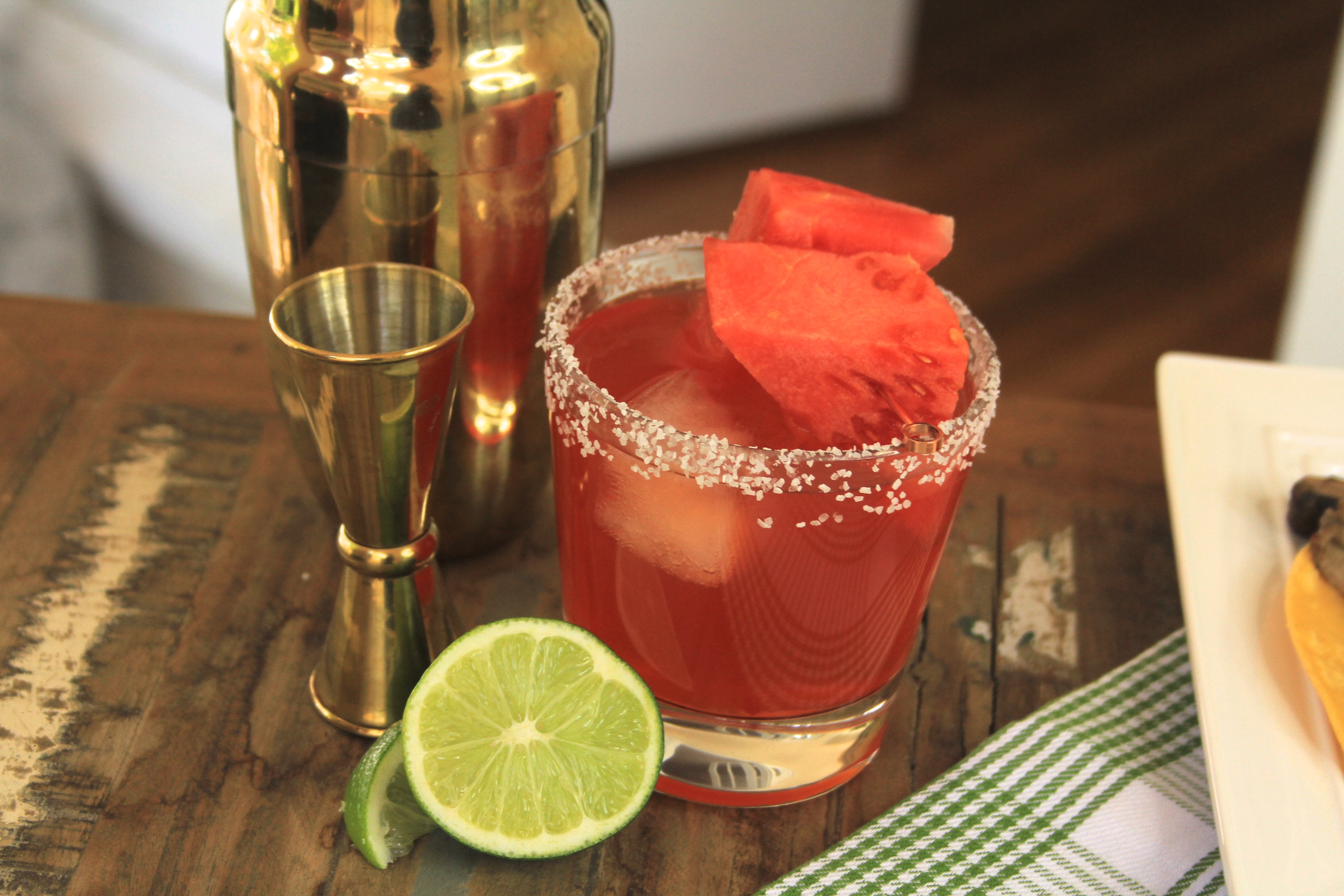 Watermelon Margarita using  Quady Red Electra Moscato paired with Mushroom tacos for Cinco de mayo