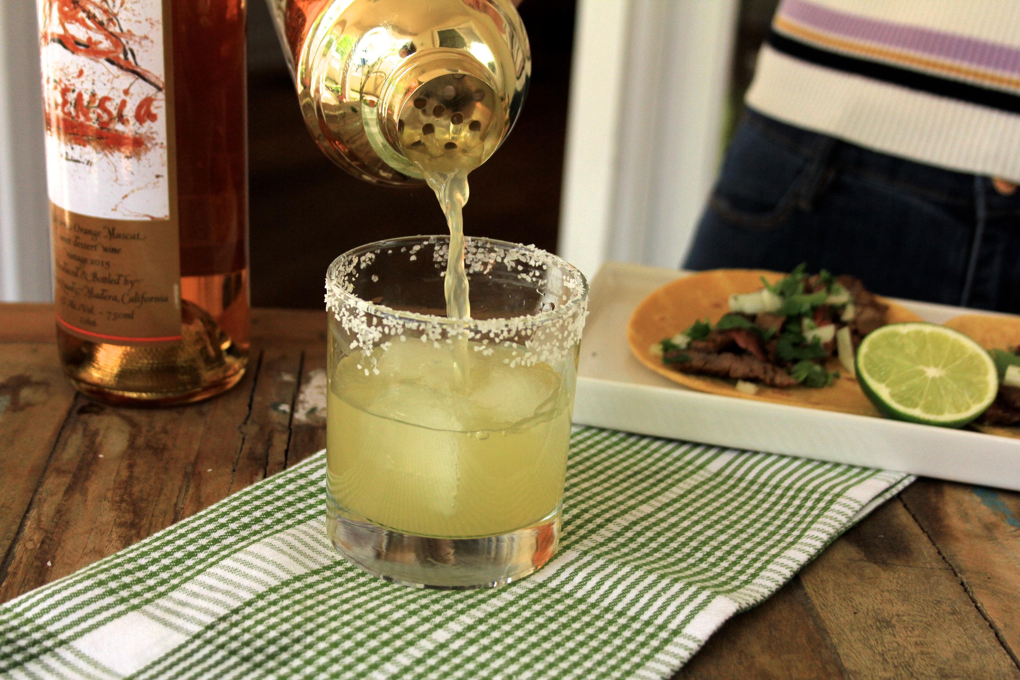 Classic cinco de mayo  Margarita recipe using Essensia Orange Muscat Wine paired with Classic Carne Asada tacos