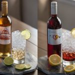 Split pictures of Quady Winery's Essensia Hard Seltzer and Elysium Hard Seltzer wine cocktail recipes