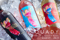 Close up of 2019 newletter cover which shows Electra Moscato, Red Electra Moscato and Electra Moscato Rosé on ice.