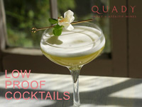 Title page of Low Proof Cocktails recipe collection with an image of a Quady wine cocktail and flower garnish in a coupe glass.