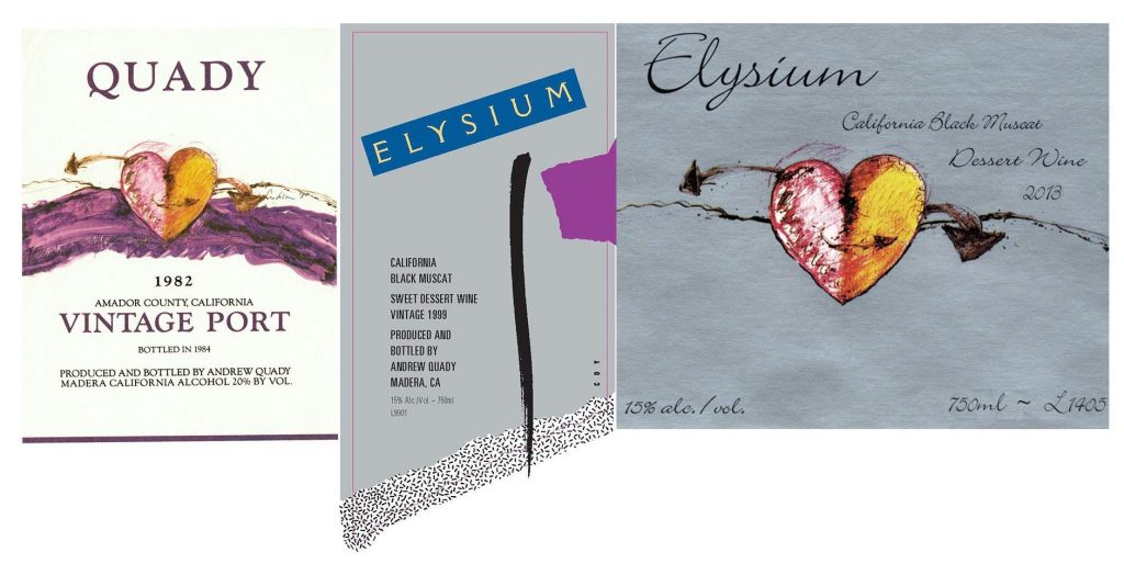 Elysium labels from 1982-17 combined together in a frame to show the changes of the labels.