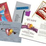 New and current Quady wine labels for Electra Moscato wine, Elysium Black Muscat Dessert wine, Essensia Orange Muscat Dessert wine, and 1982 Vintage Port Wine