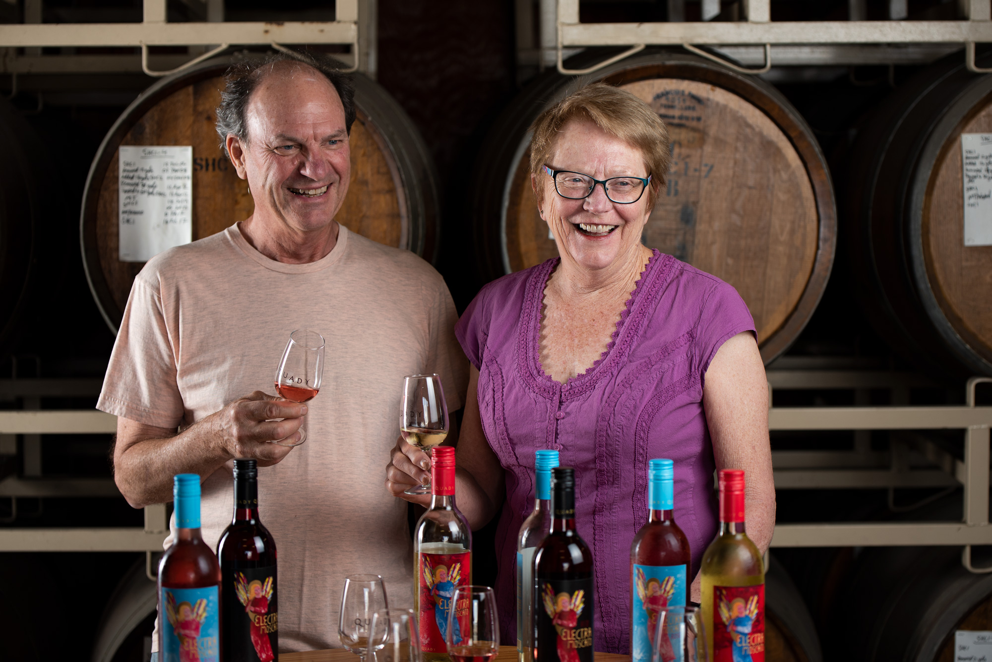 Portrait of Andrew and Laurel Quady, the founders, owners and current Chief Officers at Quady Winery