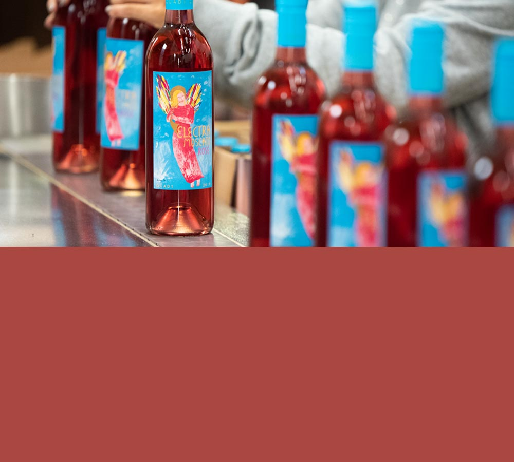 Mobile website header showing picture of 2019 vintage Electra Moscato Rose on the bottling line being packed into wine case boxes.