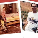 Two vintage photos of Andrew Quady making wine lying on top of a red background.