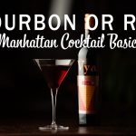 "Graphic with ""Bourbon or Rye, Manhattan Cocktail Basics"" written over a manhattan cocktail and bottle of Vya Sweet Vermouth."