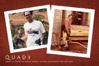 Front cover of Quady Winery 2020 newsletter showing vintage photographs of Andrew Quady at Quady Winery in Madera, CA.